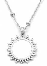 B-D8.1 N301-025S S. Steel Necklace 15mm Sun with Mother of Pearl Silver