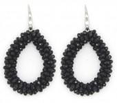 B-C3.2 E007-001 Facet Glass Beads 4.5x3.5cm Black