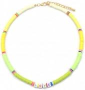 F-E17.1 N536-103E Necklace LOVE 42-48cm Yellow-Green