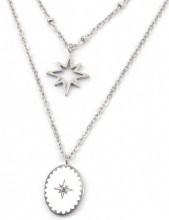 D-C17.5 N2004-001S S. Steel Layered Necklace Northern Stars Silver