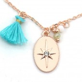 F-F21.1  N532-002R Necklace Northern Star and Tassel Rose Gold
