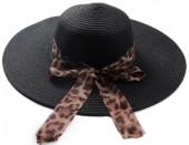 Q-P6.1 HAT504-005D Hat with Animal Print Ribbon Black
