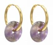 A-E19.3 E2121-056G S.Steel 20mm Earrings with 15mm Amethyst Gold