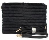 S-K5.3 BAG190-006 Soft Fake Fur Clutch-Bag Black 30x17x4 cm