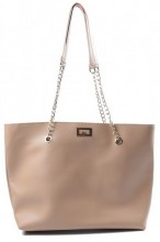 Y-E3.3 BAG417-005C PU Shopper with Metal Chain 44x35x10cm Light Brown