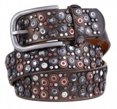 H-A10.1 FTG-060 PU with Leather Belt with Studs-Stars-Crystals 3.5x90cm Bronze