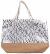 Q-H6.2 BAG217-020B Beach Bag Wicker Snake Silver