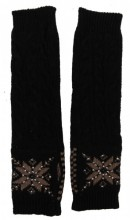 L-C8.1 Hand and Arm Warmers with Crystals Black