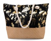 Y-A4.2 BAG217-004 Beach Bag with Wicker and Metallic Flamingos and Pineapples  54x40cm Black-Gold