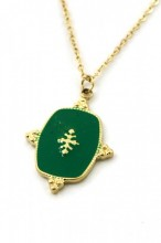 D-A15.1 N010-061G S. Steel Necklace with Enamel 2cm Charm