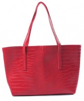 Y-D6.5 BAG417-004D PU Shopper Croco 44x30x10cm Red