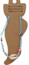 F-E19.1 ANK221-013 Anklet with Beads and Shell Blue