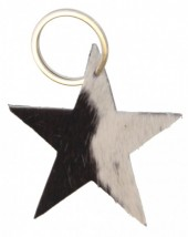 A-C3.1 Black Leather Cowhide Keychain Star Mixed Colors 8cm