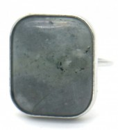 G-E6.4 R532-011S Adjustable Ring with Large Stone Silver