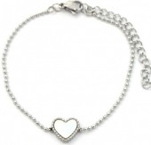 A-E2.2 B2003-017 S. Steel Bracelet 10mm Heart with Mother of Pearl Silver