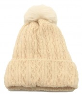 T-P2.1 HAT005-014A Beanie with Pompon Beige