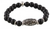 B-C17.1 S. Steel Bracelet with Semi Precious Stones Black