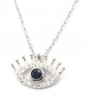 G-E16.5  SN104-277 925S Silver Necklace with 12mm Eye with CZ