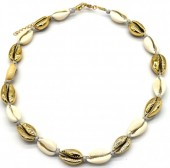 H-F2.1  N2001-007C Short Shell Necklace 40-45cm Gold-Grey
