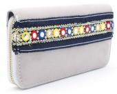 Q-I7.2 WA117-008 Bohemian Style Velvet Wallet 19x10cm Grey