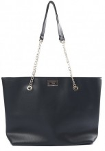 Y-D3.1 BAG417-005A PU Shopper with Metal Chain 44x35x10cm Black