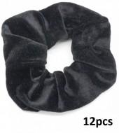 R-H4.1 H305-009 Scrunchie Velvet Black 12pcs