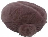 X-D6.2  Soft Fake Fur Hat with Flower Purple