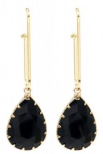 C-D2.3  E1631-021 Earrings with Stone 6x2cm Gold-Black