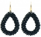 B-A15.2  E007-001 Facet Glass Beads 4.5x3.5cm Gold-Black