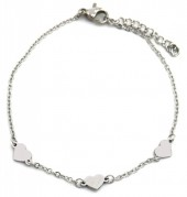 D-D2.4 B1939-006 Stainless Steel Bracelet with 5mm Hearts Silver