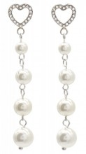 B-D3.3 E012-002S S. Steel Earrings Heart and Pearls 4cm