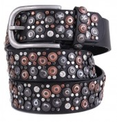 H-E14.1 FTG-060 PU with Leather Belt with Studs-Stars-Crystals 3.5x100cm Black