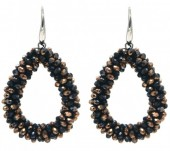 F-D16.5  E007-001G Facet Glass Beads 4.5x3.5cm Black-Copper