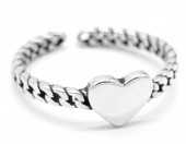 C-A19.3 SR104-151 925S Silver Heart Ring Adjustable