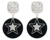 B-E8.3 E1631-029B Earrings Star with Crystals 4.5x2.5cm Silver