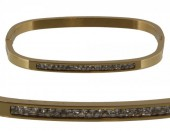E-D7.7   Stainless Steel Bangle 6.5x4.5cm B005-010 Gold With Crystals