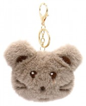 S-I8.1 KY2035-010B Fluffy Keychain Mouse 10x8x3cm Brown