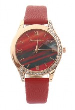C-D9.5 W523-078 Quartz Watch 36mm with Crystals Red