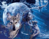 Y-D1.5 MS7442 Paint By Number Set Lady-Wolves 50x40cm