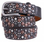 H-B1.1 FTG-060 PU with Leather Belt with Studs-Stars-Crystals 3.5x95cm Grey