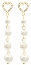 B-D21.1 E012-002G S. Steel Earrings Heart and Pearls 4cmB-D21.1 E012-002G S. Steel Earrings Heart and Pearls 4cm