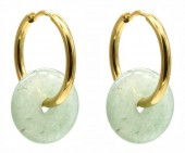 A-G3.4  E2121-056G S.Steel 20mm Earrings with 15mm Aventuring Gold