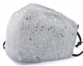 D-C10.2 FM042-026C Glitter Face Mask - Individually Packed - Silver