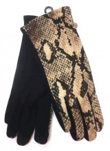 S-A1.4 GLOVE501-002A Soft Gloves with Snake Print Brown