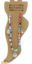 G-B17.3  ANK004C Anklet with Beads and Metal Shells Multi Color