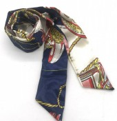 H415-002D Hair Scarf with Fantasy Print 100x5cm Blue