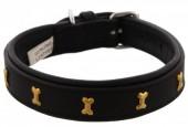 H-C20.2 MTDC-002 Leather Dog Collar with Bones Black XXS 39x2cm