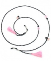 B-E7.2 GL406 Sunglass Chain with Beads and Tassels Black