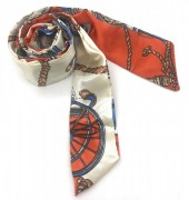 H415-002A Hair Scarf with Fantasy Print 100x5cm Orange