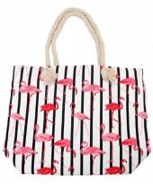 R-G8.2 BAG217-002A Beach Bag with Flamingos White 45x35x12cm